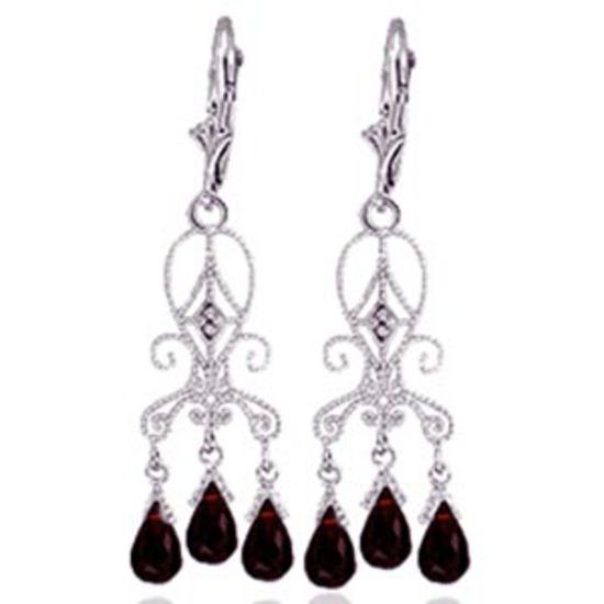 6.31 Carat 14K Solid White Gold Love Is Patient Garnet Diamond Earrings
