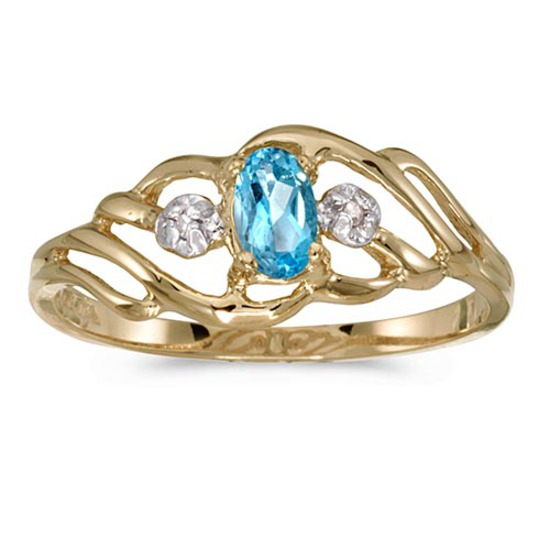 Certified 14k Yellow Gold Oval Blue Topaz And Diamond Ring