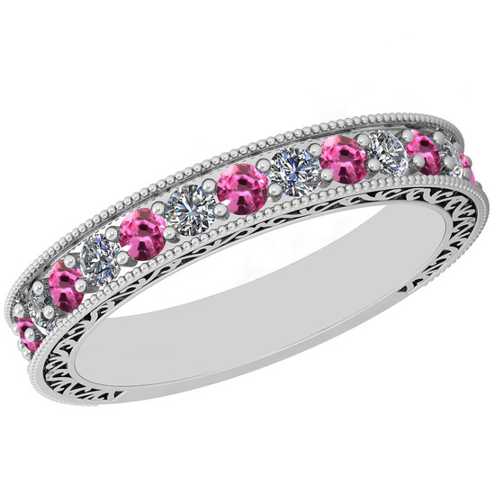 0.83 Ctw VS/SI1 Pink Sapphire And Diamond 14K White Gold Filigree Style Band Ring