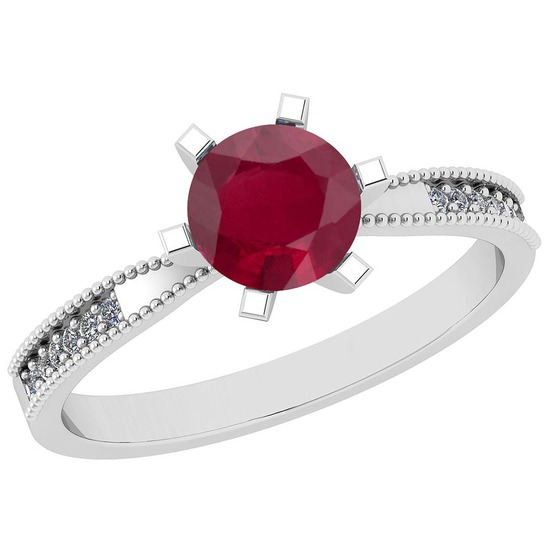 0.66 Ctw VS/SI1 Ruby And Diamond 14K White Gold Ring