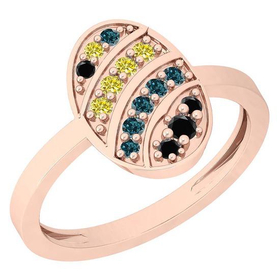 0.21 Ctw I1/I2 Treated Fancy Black ,Yellow,Blue Diamond 14K Rose Gold Ring