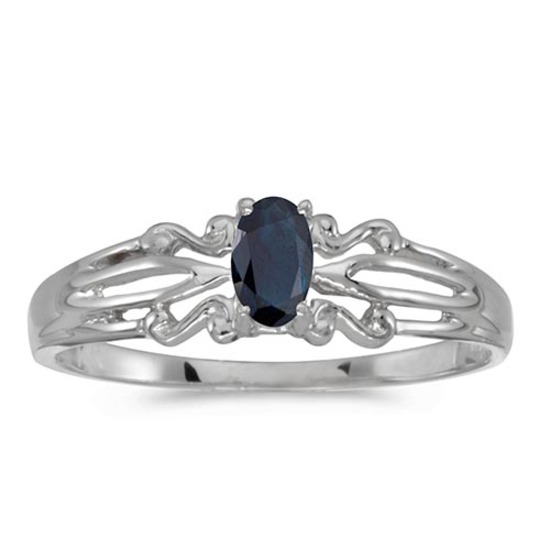 Certified 10k White Gold Oval Sapphire Ring