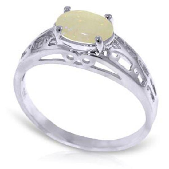 0.45 Carat 14K Solid White Gold Filigree Ring Natural Opal