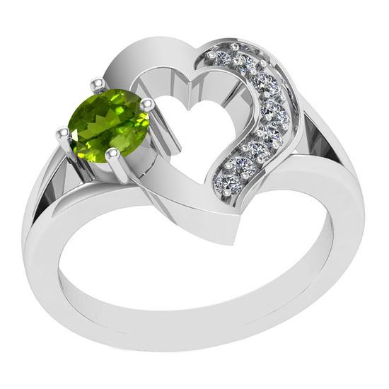 0.71 Ctw VS/SI1 Peridot And Diamond 10K White Gold Vintage Ring