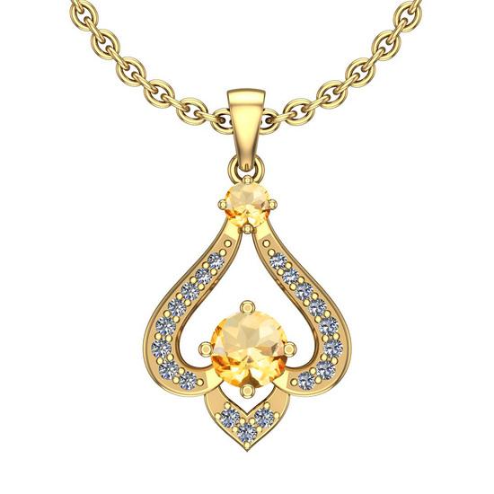 0.77 Ctw VS/SI1 Citrine And Diamond 10K Yellow Gold Vintage Pendant
