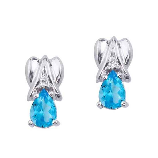 Certified 14k White Gold Blue Topaz and Diamond Pear Shaped Earrings 0.96 CTW