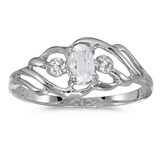 Certified 14k White Gold Oval White Topaz And Diamond Ring