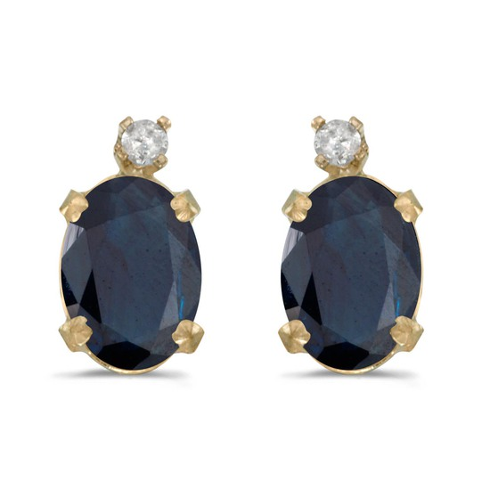 Certified 14k Yellow Gold Oval Sapphire And Diamond Earrings 1.64 CTW