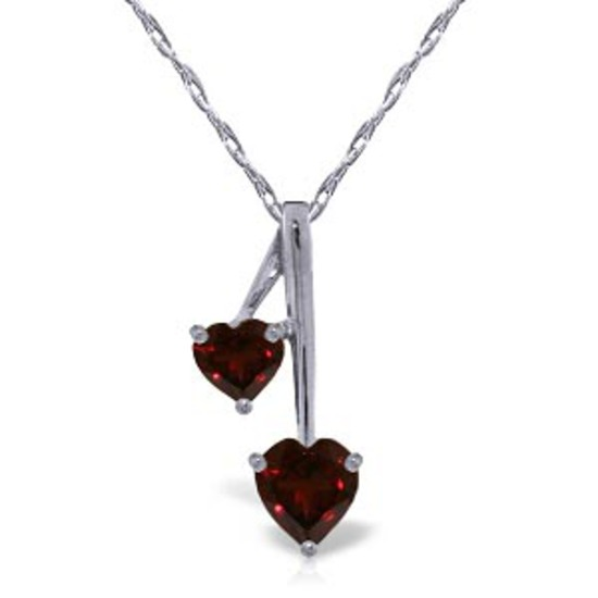 1.4 CTW 14K Solid White Gold Hearts Necklace Natural Garnet