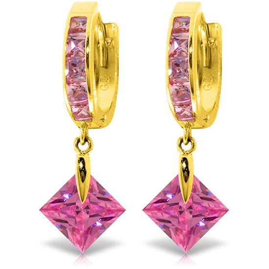 7.58 CTW 14K Solid Gold Marlena Pink Zirconia Earrings