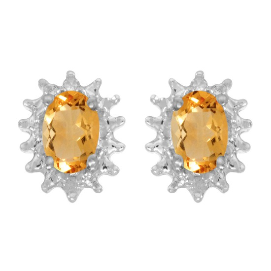 Certified 14k White Gold Oval Citrine And Diamond Earrings 0.66 CTW