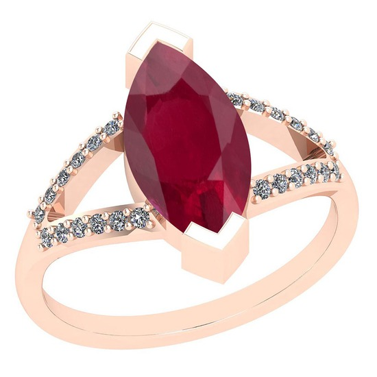 6.33 Ctw Ruby And Diamond I2/I3 14K Rose Gold Vintage Style Ring