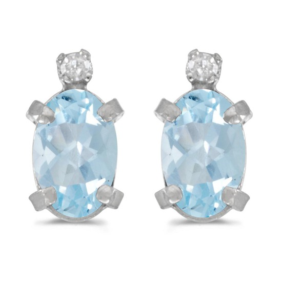 Certified 14k White Gold Oval Aquamarine And Diamond Earrings