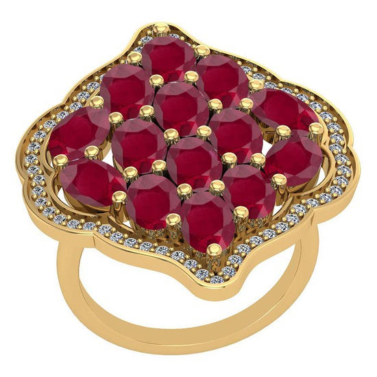 5.26 Ctw VS/SI1 Ruby And Diamond 14K Yellow Gold Vintage Style Ring