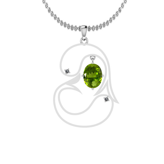 1.28 Ctw VS/SI1 Peridot And Diamond 10K White Gold Necklace