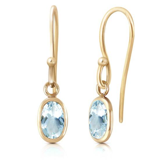 1 Carat 14K Solid Gold Fish Hook Earrings Aquamarine