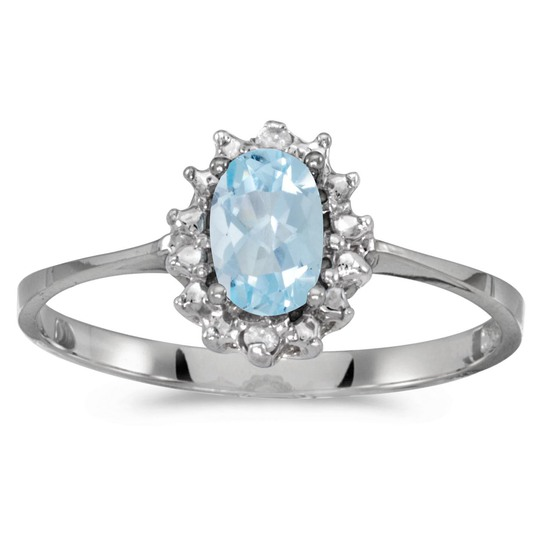 Certified 10k White Gold Oval Aquamarine And Diamond Ring 0.31 CTW