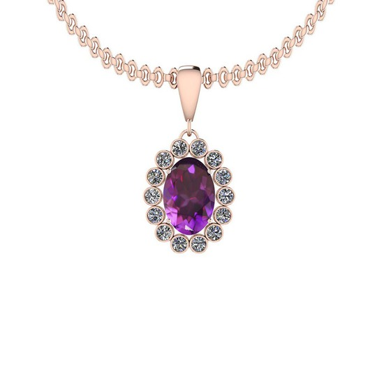 Certified 10.99 Ctw I2/I3 Amethyst And Diamond 14K Rose Gold Pendant