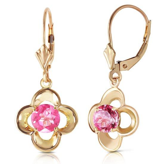 1.1 Carat 14K Solid Gold Leverback Earrings Natural Pink Topaz