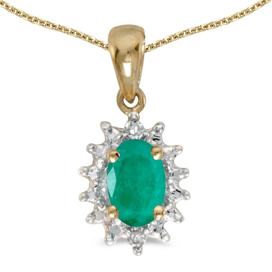Certified 10k Yellow Gold Oval Emerald And Diamond Pendant 0.33 CTW