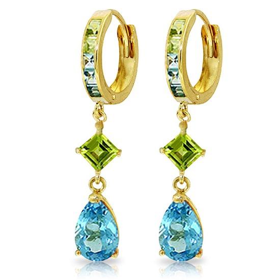5.37 CTW 14K Solid Gold Huggie Earrings Peridot Blue Topaz