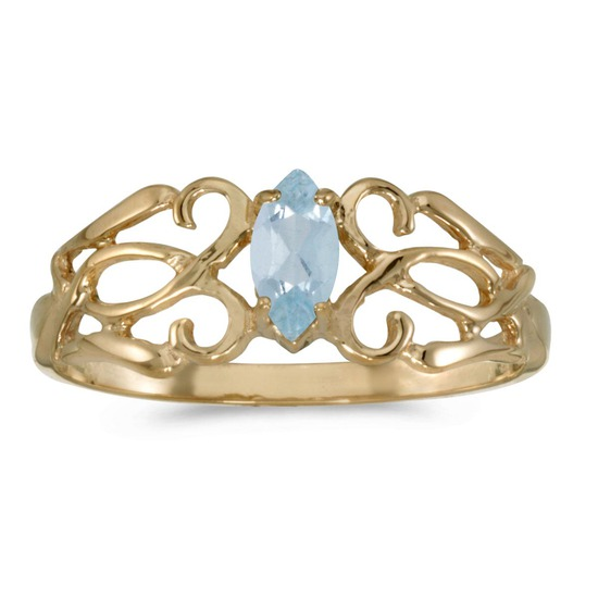 Certified 14k Yellow Gold Marquise Aquamarine Filagree Ring 0.16 CTW