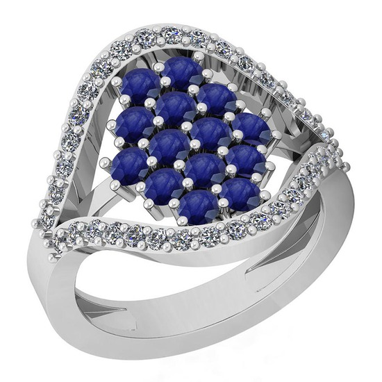 1.57 Ctw VS/SI1 Blue Sapphire And Diamond Platinum Ring
