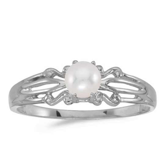 Certified 14k White Gold Pearl Ring