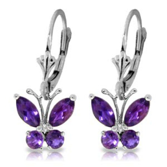 1.24 CTW 14K Solid White Gold Butterfly Earrings Natural Amethyst