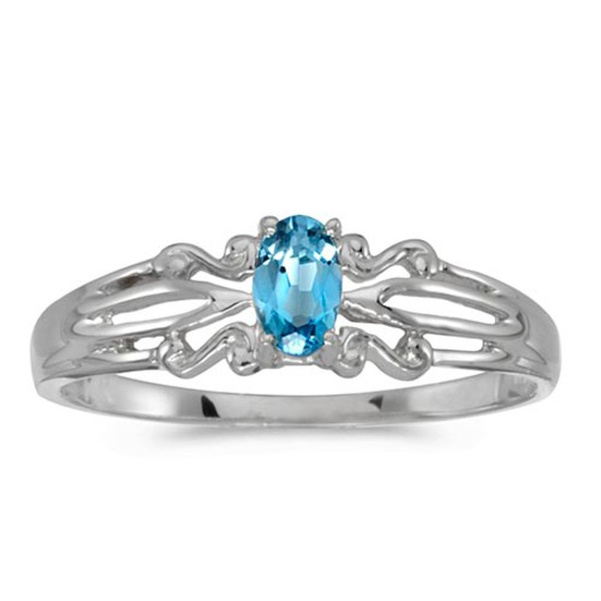 Certified 10k White Gold Oval Blue Topaz Ring