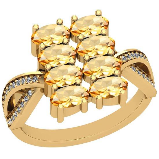 2.21 Ctw Citrine And Diamond I2/I3 14K Yellow Gold Ring