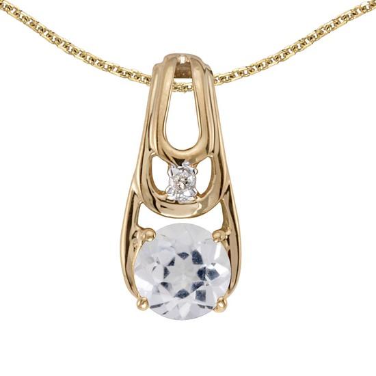 Certified 14k Yellow Gold Round White Topaz And Diamond Pendant
