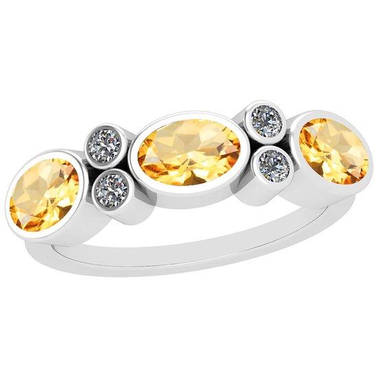 1.64 Ctw Citrine And Diamond I2/I3 14K White Gold three Stone Ring