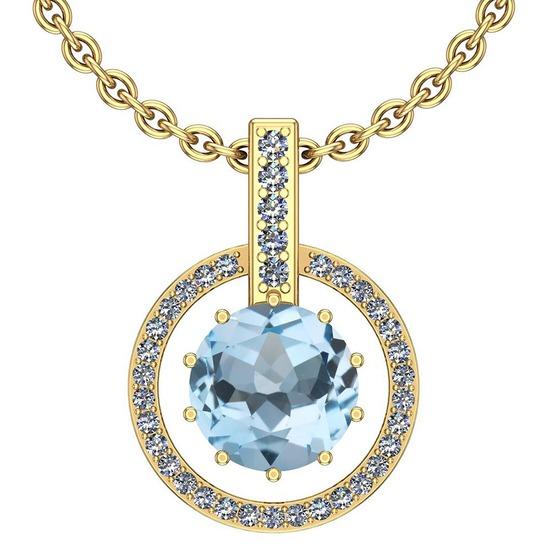 Certified 48.43 Ctw I2/I3 Blue Topaz And Diamond 14K Yellow Gold Pendant