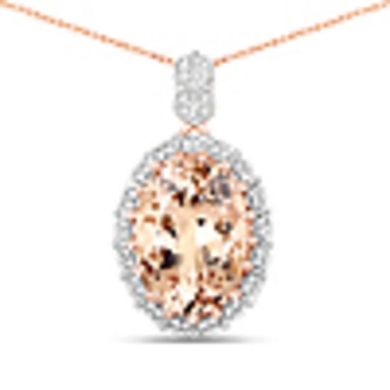 6.36 Carat Genuine Morganite and White Diamond 14K Rose Gold Pendant