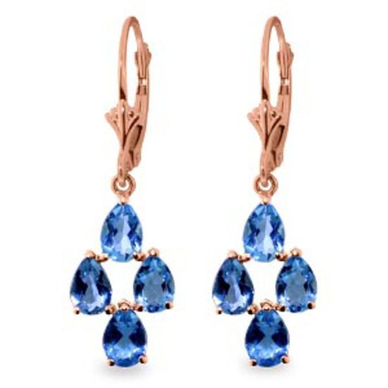 4.5 CTW 14K Solid Rose Gold pearll Blue Topaz Leverback Earrings