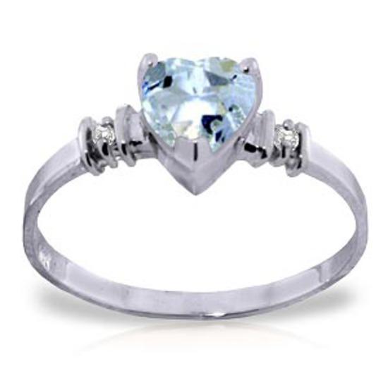 0.98 Carat 14K Solid White Gold Ring Natural Aquamarine Diamond