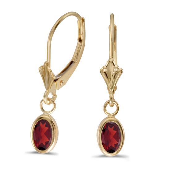 Certified 14k Yellow Gold Oval Garnet Bezel Lever-back Earrings