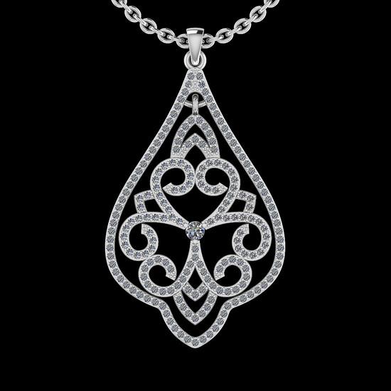 1.03 Ctw I2/I3 Diamond 10K White Gold Victorian Style Pendant