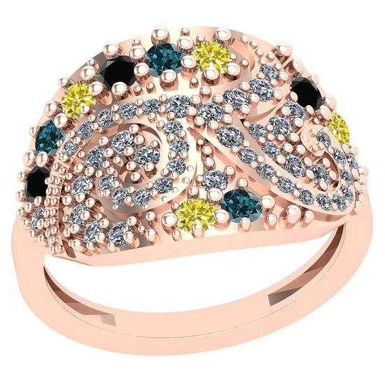 0.90 Ctw SI2/I1 Treated Fancy Blue ,Black,Yellow And White Diamond 14K Rose Gold Ring