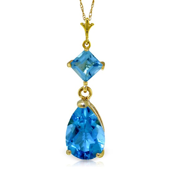 2 Carat 14K Solid Gold To Love Again Blue Topaz Necklace