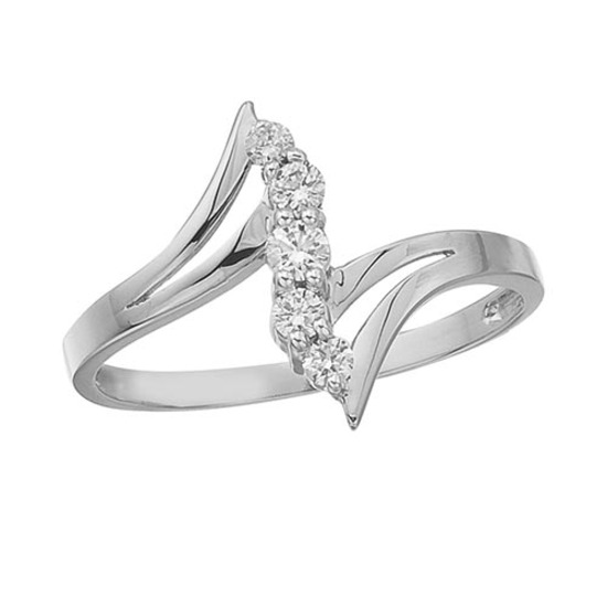 Certified 14K White Gold and Diamond Bypass Promise Ring