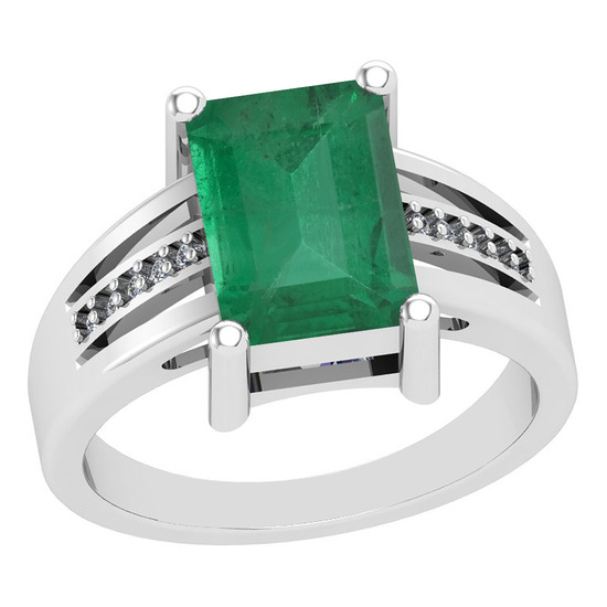 2.46 Ctw VS/SI1 Emerald And Diamond 14K White Gold Vintage Style Ring
