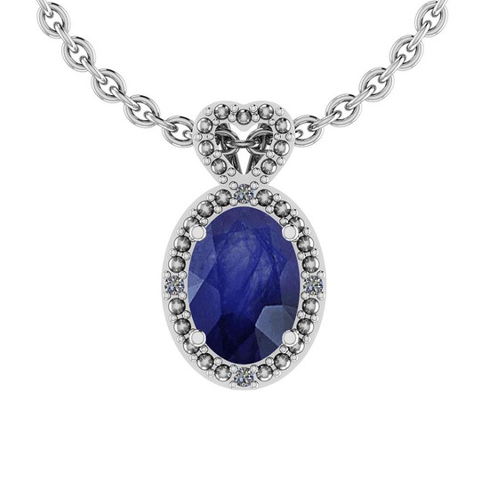 5.80 Ctw VS/SI1 Blue Sapphire And Diamond 14K Yellow Gold Pendant
