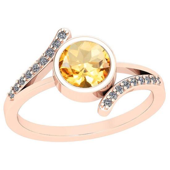 1.10 Ctw Citrine And Diamond I2/I3 10K Rose Gold Vintage Style Ring