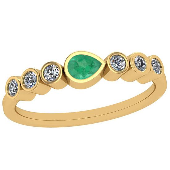 0.51 Ctw Emerald And Diamond I2/I3Style Bezel Set 14K Yellow Gold Band Ring