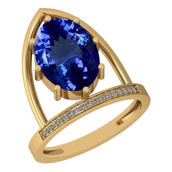 4.69 Ctw VS/SI1 Tanzanite And Diamond 14K Yellow Gold Ring