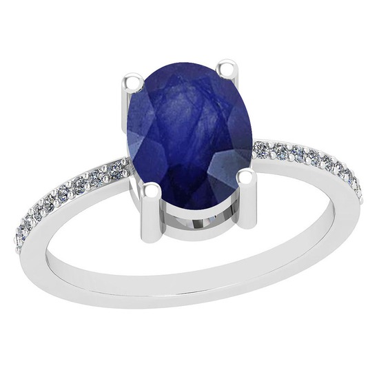 2.10 Ctw Blue Sapphire And Diamond I2/I3 14K White Gold Vintage Style Ring