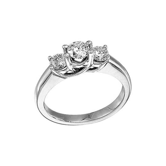 Certified 14k White Gold 1.00 Ct Three Stone Trellis Diamond Ring