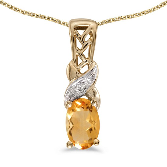 Certified 14k Yellow Gold Oval Citrine And Diamond Pendant